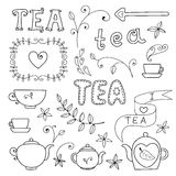 Tea card. Set of elements for design. Stock Photo