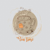 Tea card. Tea time. Hand drawing  illustration Stock Image