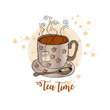 Tea card. Tea time. Hand drawing  illustration Stock Photography