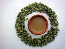 Tea and cardamom circle. Pinture of tea and cardamom circle royalty free stock images