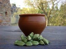Tea and cardamom. Picture of tea and cardamom stock photo