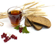 Tea, cereals, currant and bread Royalty Free Stock Image