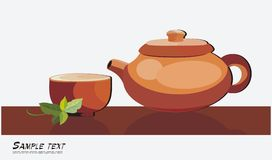 Tea ceremony. Background with teapot and cup Royalty Free Stock Photos