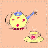Tea ceremony. Teapot with a cup of tea on decorative background Royalty Free Stock Photos