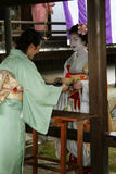 Tea ceremony. A tea ceremony with a original geisha inside the old temple tenryu ji at arashiyama,near kyoto in japan.april 2009 Stock Photos