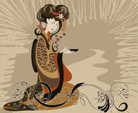 Tea ceremony. Japanese woman preparing dishes for the tea ceremony vector illustration