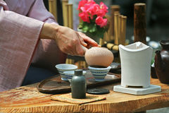 Tea ceremony. Traditional tea ceremony in Japan Stock Photos