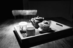 Tea ceremony. Black and white picture of tea ceremony in my house in Montreal Stock Image