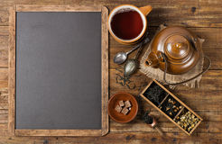 Tea ceremony and blackboard, above view. Stock Photos