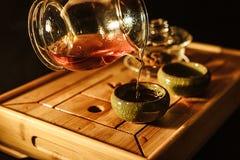 Tea ceremony, brewed hot tea stock photos