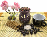 Tea ceremony by candlelight with cinnamon, roses, cup, pepper mix isolated Royalty Free Stock Images