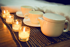 Tea ceremony with candles Stock Photos