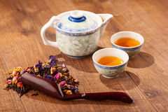 Tea ceremony composition with hand fan Stock Image