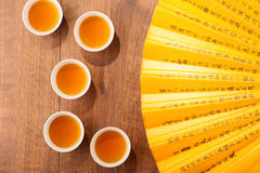 Tea ceremony composition with hand fan Stock Photography