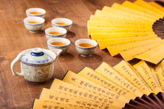 Tea ceremony composition with hand fan Royalty Free Stock Images