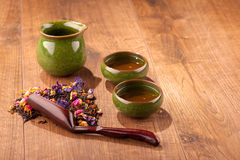 Tea ceremony composition on wooden table Stock Image