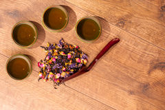 Tea ceremony composition on wooden table Stock Photos