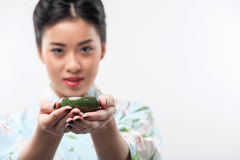 Tea ceremony conducted by Asian woman Stock Photos