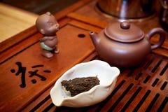 Tea ceremony. Dry black tea in a white bowl Stock Photos