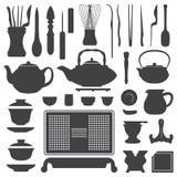 Tea ceremony equipment silhouette set Royalty Free Stock Image