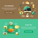 Tea Ceremony Horizontal Banners. Horizontal banners with black tea and traditional drinking ceremony on brown and green background isolated vector illustration Stock Photo