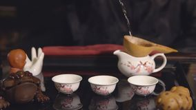Tea ceremony. Master passes through a sieve tea. Slow motion stock footage