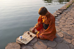 Tea ceremony near the water Stock Image