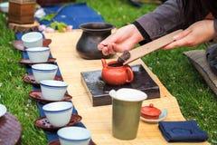 Tea ceremony. Oriental traditional tea ceremony on the grass Royalty Free Stock Photos