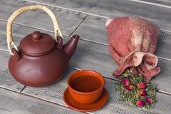 Tea ceremony, tea party. Cups, honey, sugar and vintage cloth sa stock photos