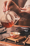 Tea ceremony is performed by master Stock Image