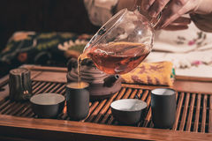 Tea ceremony is performed by master Stock Photography