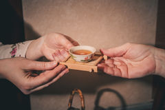 Tea ceremony is performed by master Stock Photo
