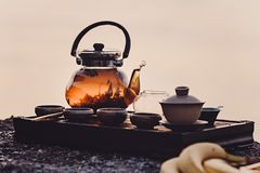 Tea ceremony on the river bank royalty free stock photography