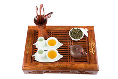 Tea ceremony set. Top view Stock Photo