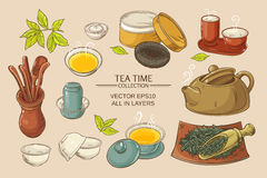 Tea ceremony set. Tea ceremony vector set on color background Royalty Free Stock Images