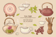 Tea ceremony set. Tea ceremony vector set on color background Stock Photography