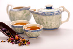 Tea ceremony still life isolated on white Stock Photography