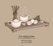 Tea ceremony. Tea table with teapot, tea bowls, tea jug and tea tools Royalty Free Stock Images