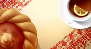 Tea ceremony with tea and cake. Illustration. Royalty Free Stock Photos