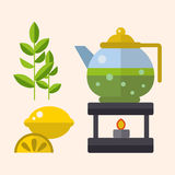 Tea ceremony traditional asian drink vector illustration. Stock Photography