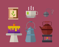 Tea ceremony traditional asian drink vector illustration. Royalty Free Stock Photos