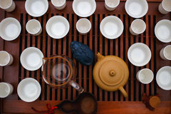 Tea ceremony on wooden table Stock Images