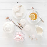 Tea ceremony with zefir and marshmellow, topview Royalty Free Stock Photography