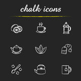 Tea chalk icons set. Tea icons set. Lemons, steaming cup on plate, french press, teapot, loose tea leaves, refined sugar cubes, kettle, mug with teabag Royalty Free Stock Image