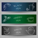 Tea chalky doodles on banners Stock Photos