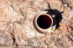 Tea with chamomile on old big stone. Stock Images