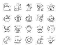 Tea charcoal draw line icons vector set stock illustration