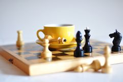 Tea and chess Royalty Free Stock Photography