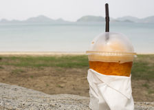 Tea chill scenic beach relax drink cup of tea concept Stock Image