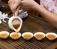Tea in China. Tea tasting in the leisure time of how happy Royalty Free Stock Images